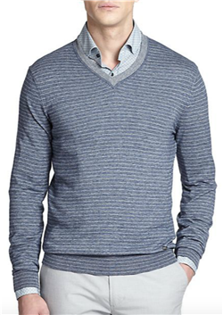 a76b2978ec BOSS Hugo Boss - Tucci Stripe V-Neck Sweater  The contemporary fit and  beautiful