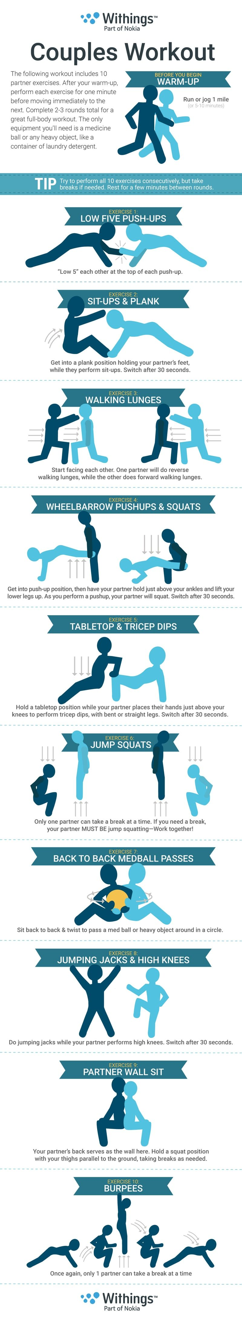 Valentine s day partner workout infographic couple