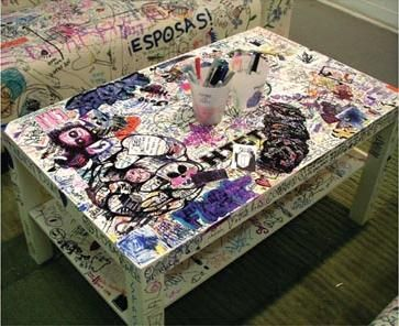 Graffiti Furniture    I really want to do this but my table is black and probably wouldn't show up very well.