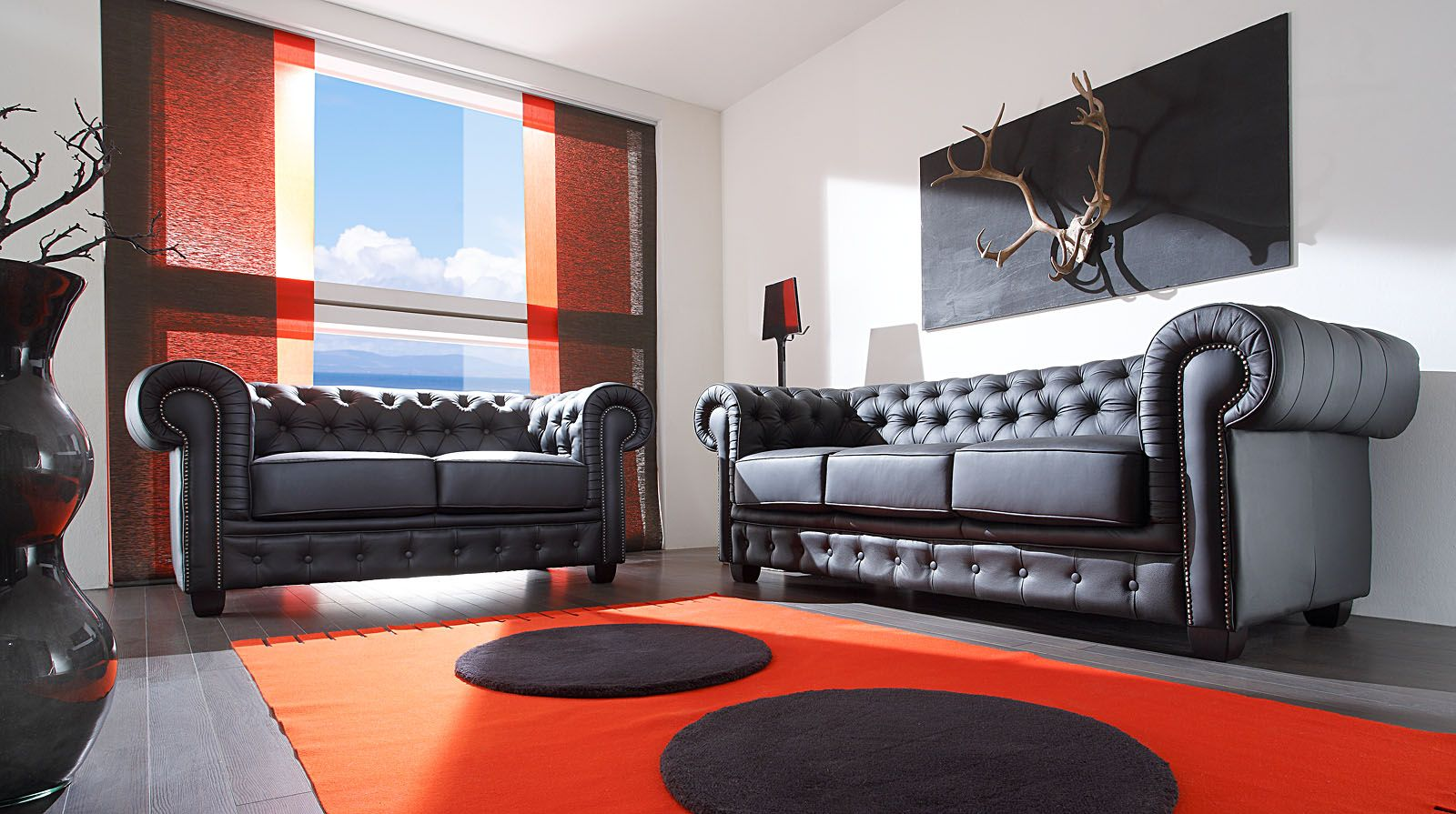 Chesterfield Wohnzimmer Set Black Real Leather By Massivum