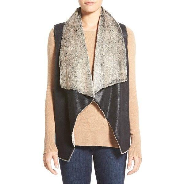 Marc New York 'Blake' Faux Shearling Vest ($110) ❤ liked on Polyvore featuring outerwear, vests, black, black sherpa vest, vest waistcoat, sherpa vest, open front vest and draped vest