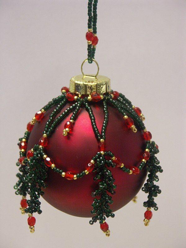 Handmade Christmas Crochet Beaded Ornaments