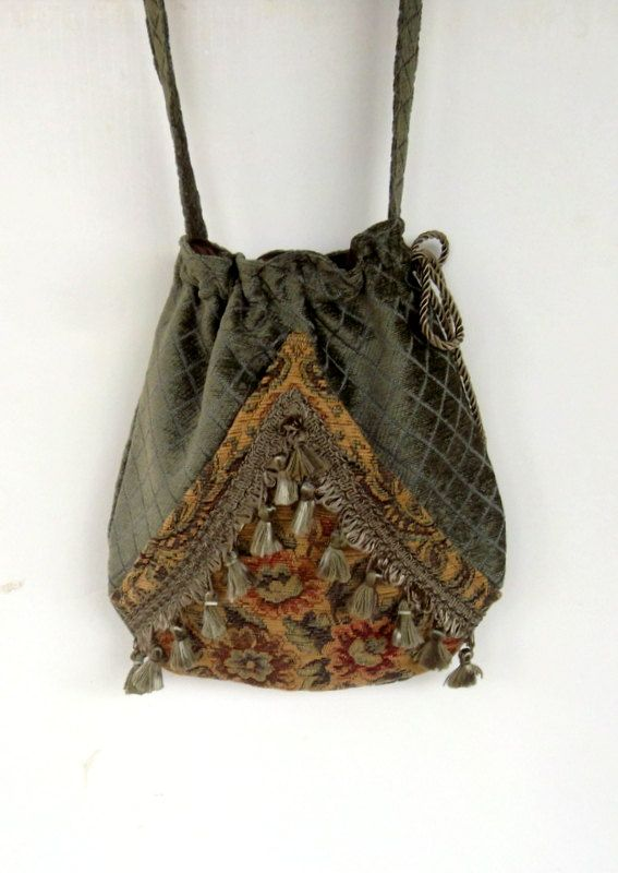 Boho Sage Green Floral Bag Pocket Boho Bag Floral Tapestry Drawstring Bag Bohemian Bag Crossbody Purse