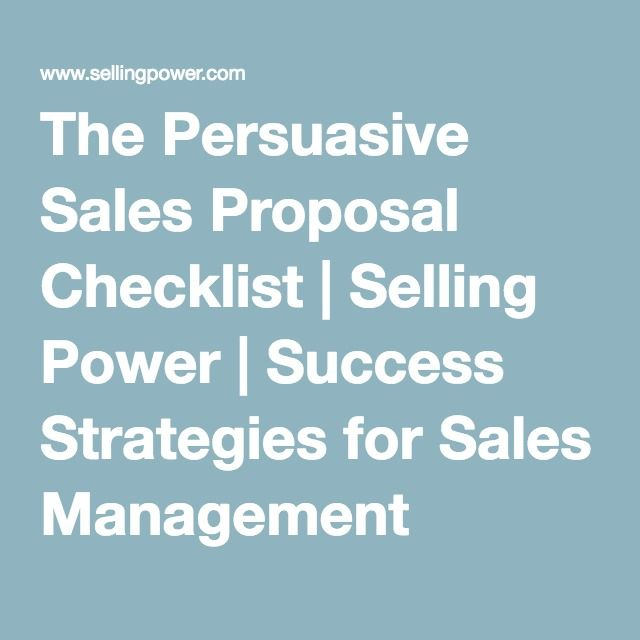The Persuasive Sales Proposal Checklist  Selling Power  Success