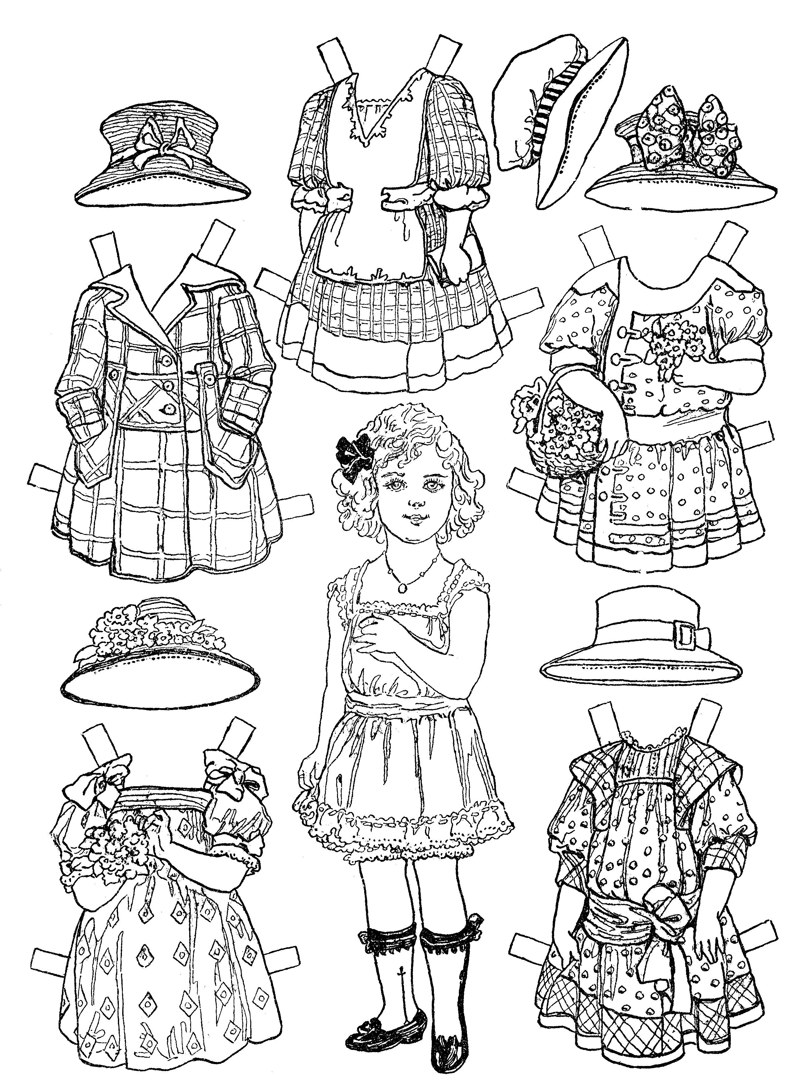 VICTORIAN CHILD Paper Doll Coloring Pages