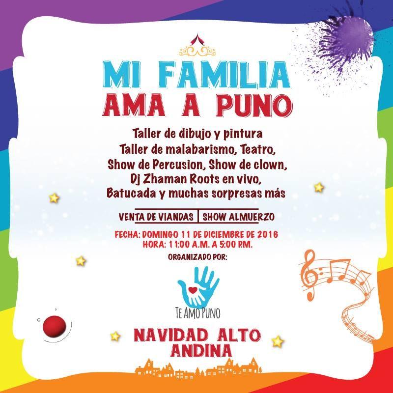 #NavidadAltoandina | Vive un domingo diferente en nuestra Facultad con las actividades recreativas que el Proyecto TE AMO PUNO tiene preparado para ti y tu familia. Participa en este gran evento pro-fondo y ayuda a nuestros hermanos de #Puno.