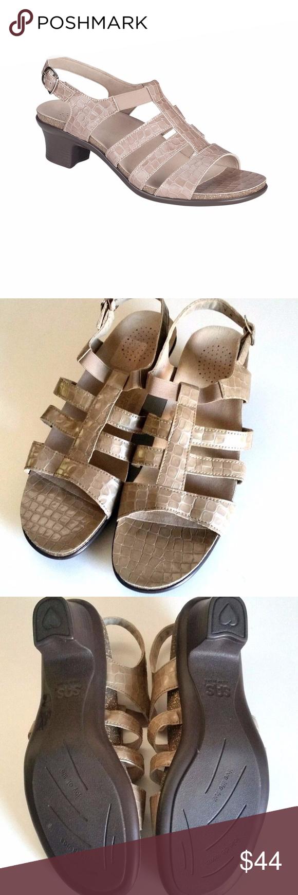 9118f642235ec9 SAS Allegra Taupe Croc Leather Sandal 10 N Women s Allegro - Taupe Croc  Sandals. Retails