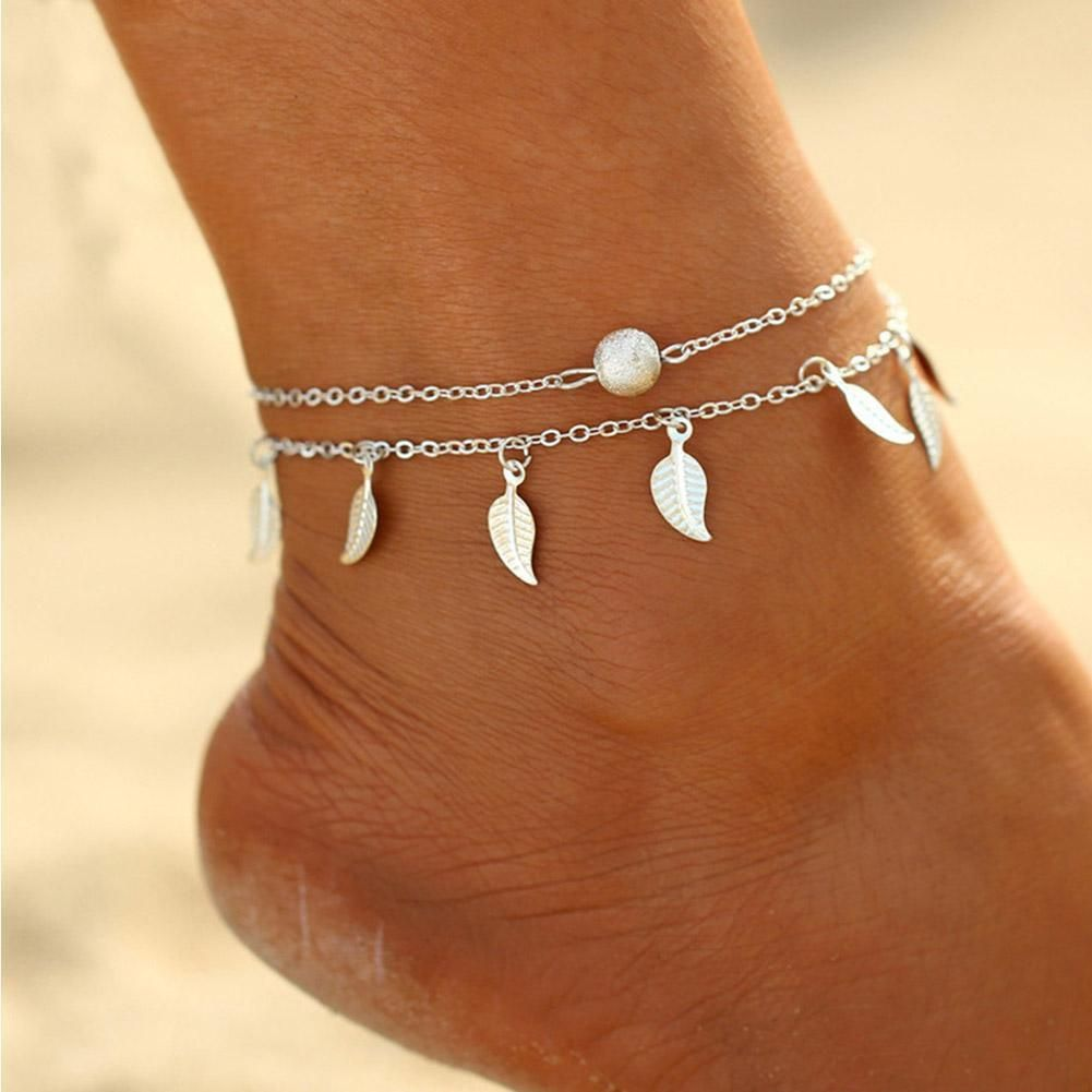 NEW Women Lady Ankle Bracelet Silver Anklet Foot Jewelry Leaf Chain Summer Beach