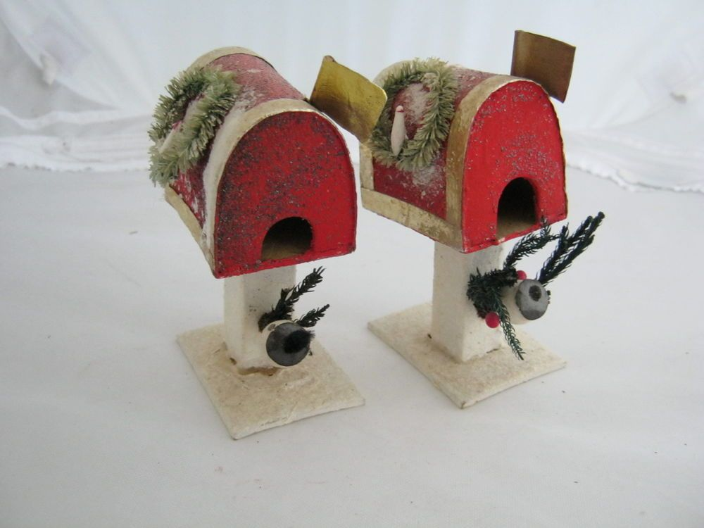 2 VINTAGE CHRISTMAS DECORATIONS, MAILBOX, MADE IN JAPAN