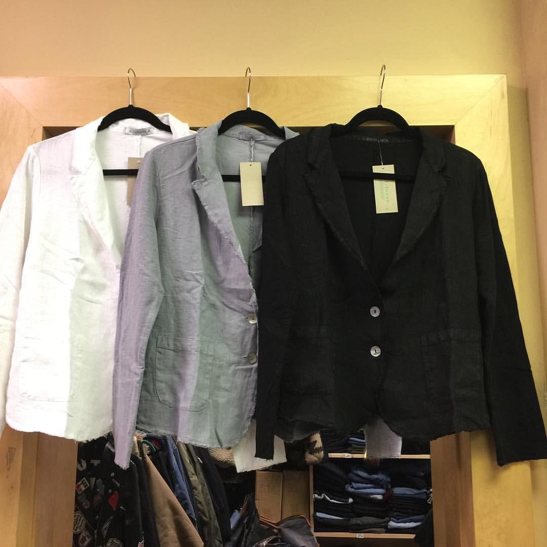 "11 Likes, 1 Comments - Trinkets (@trinketshewlett) on Instagram: ""Back in Stock!  Cotton/Linen blazer in 3 colors"""