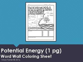 Potential Energy Word Wall Coloring Sheet 1 Pg Physics