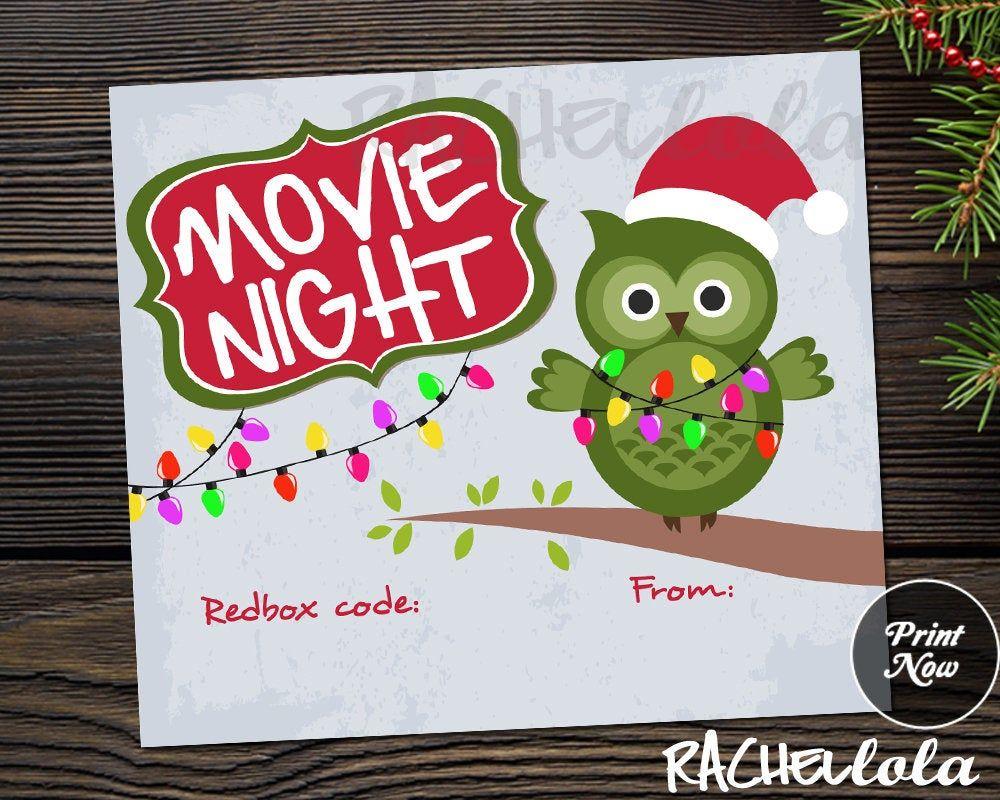 Redbox Code Christmas owl gift tag, Teacher, Neighbor