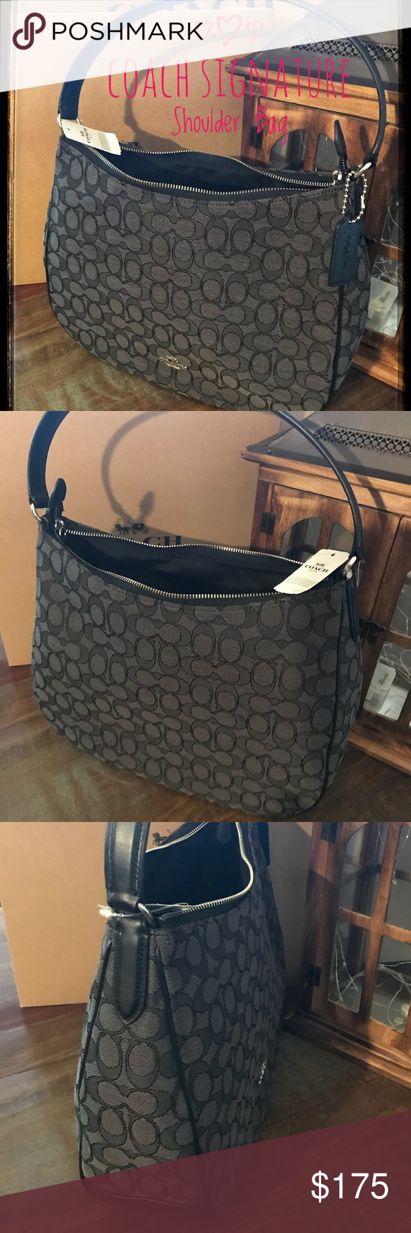 229514a4bd Coach Signature Shoulder Bag NWT Beautiful Coach Signature Shoulder Bag The  Color is Black Smoke Canvas with Black Leather Trim and Handle Silver  Hardware ...