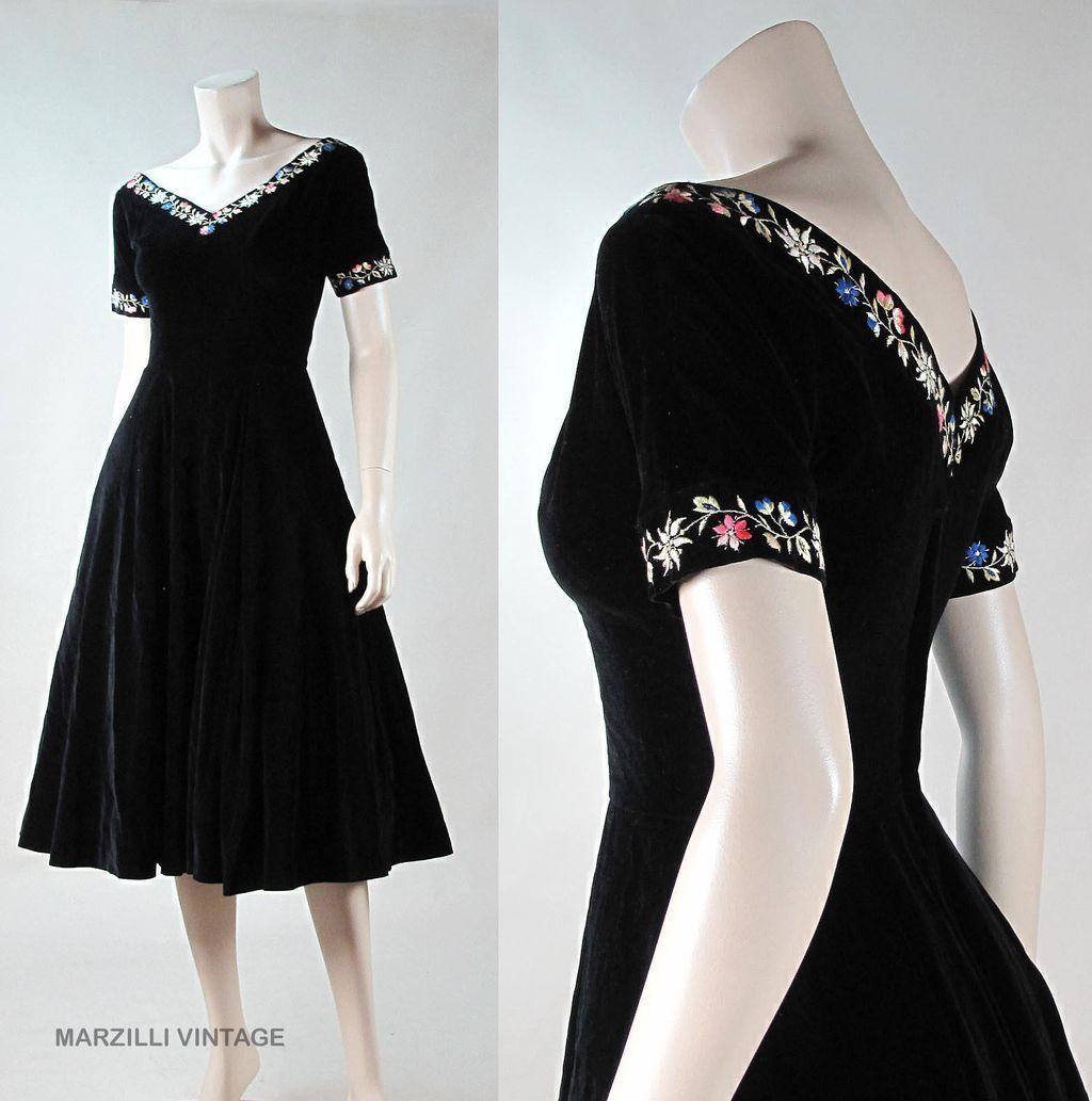 Us embroidered black velvet dress with frances prisco label