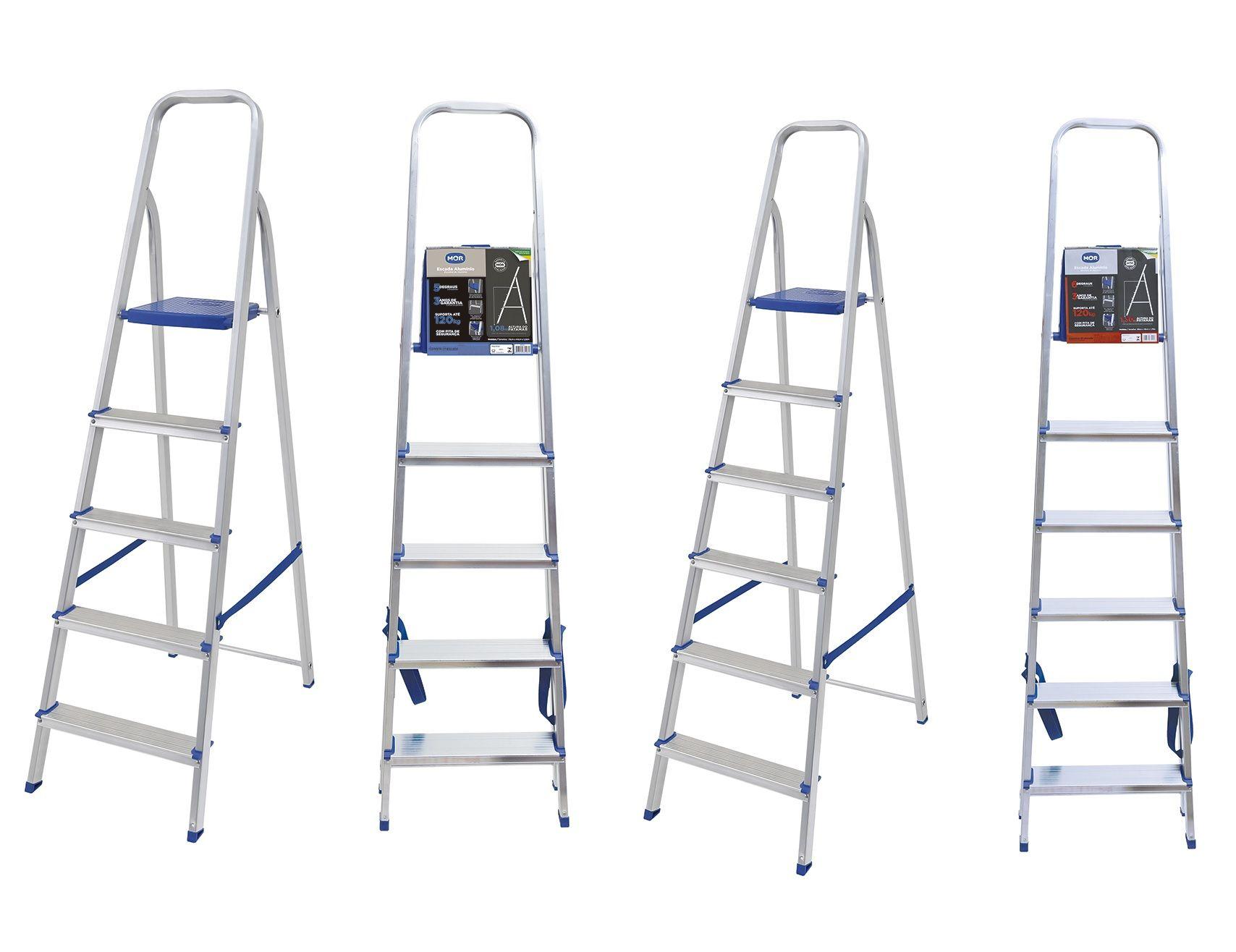 Escada Dobrável Em Alumínio 5 Degraus Mor 5103 Por R 8900