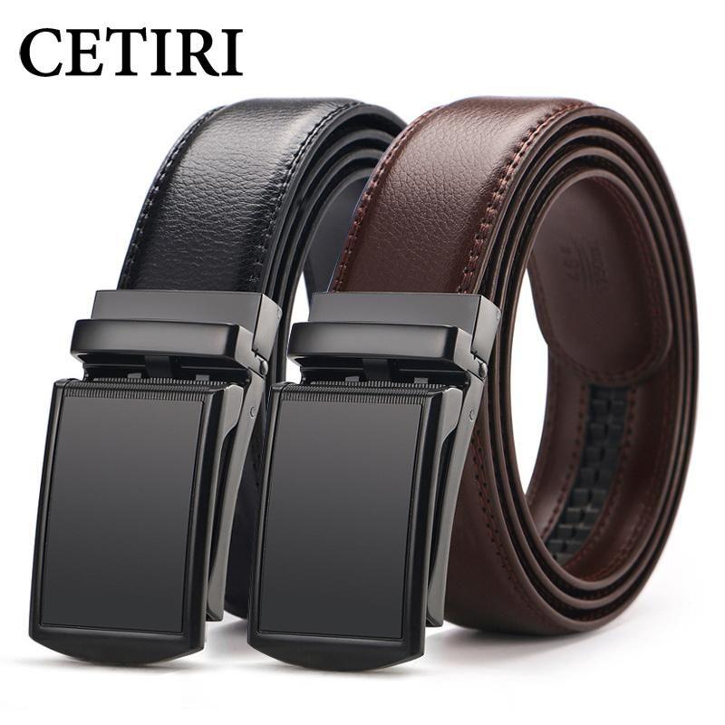 c1d41216e CETIRI men s ratchet click belt genuine leather dress belt for men jeans  holeless automatic sliding buckle black brown belts cin - Buy Sailing Online
