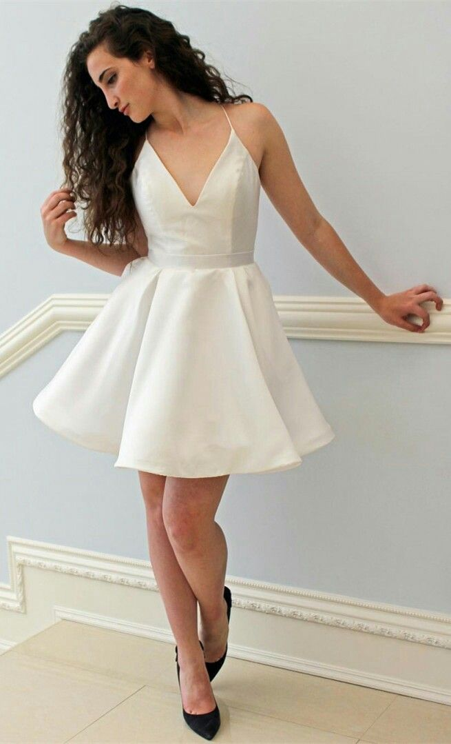 Ivory Satin Short Formal Dress