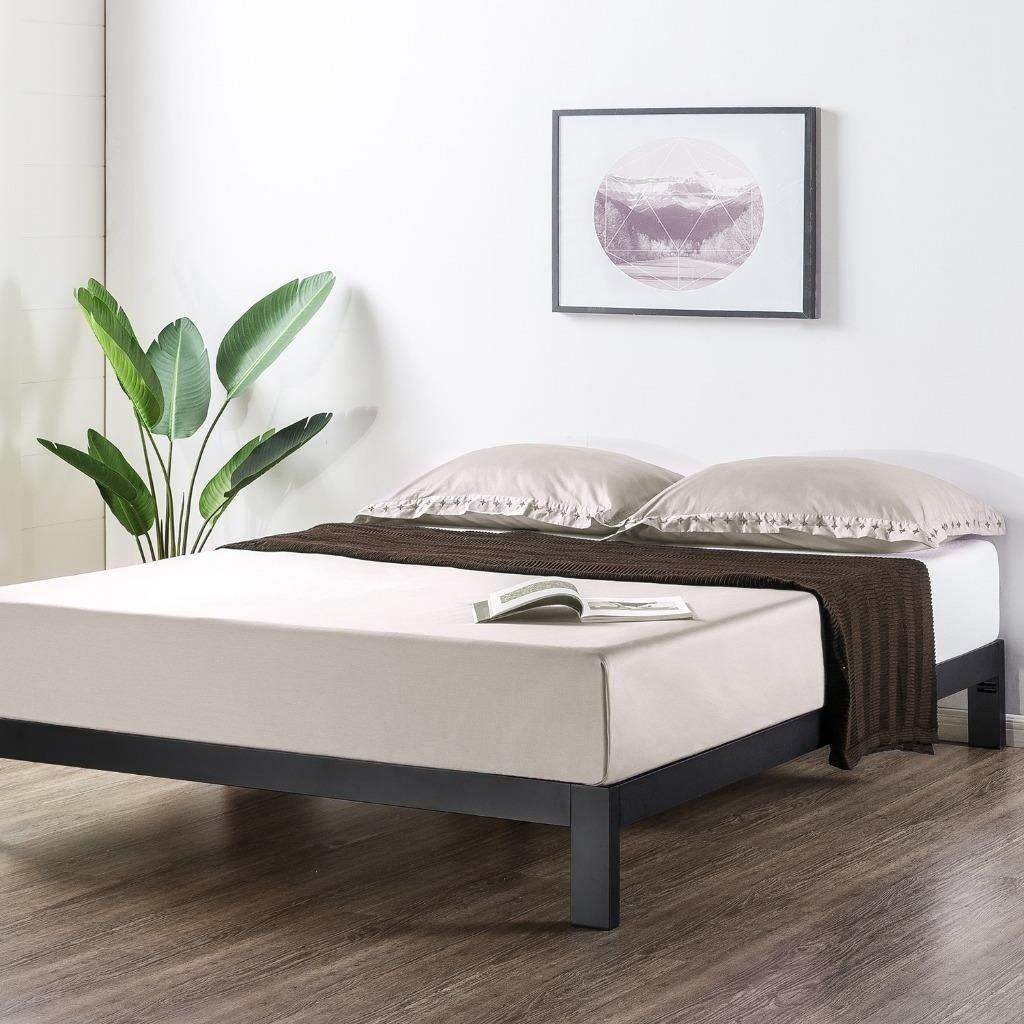 Crown Comfort Heavy Duty Metal 10 Inch Platform Bed Wooden Slat Support Mattress Foundatio Bed Frame And Headboard Wood Platform Bed Frame Leather Platform Bed