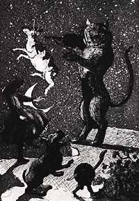 Shows a print of a cat standing on its hind legs seemingly helping a cow jump over the moon.