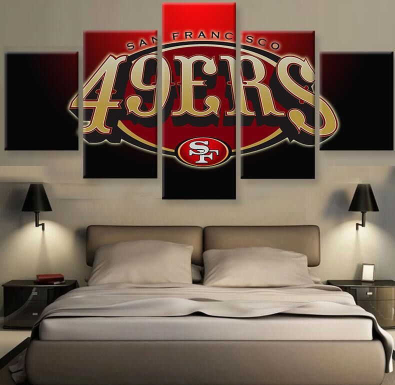 49ers Fans Hq 5 Piece Art Canvas Print 49ers Bedroom Ideas 49ers Room San Francisco 49ers Football