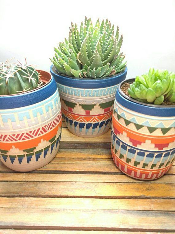 Bohemian Colorful Planter Ceramic Planter Succulent Planter Planter Pots Indoor Pottery Plant Pot Succulent Planter