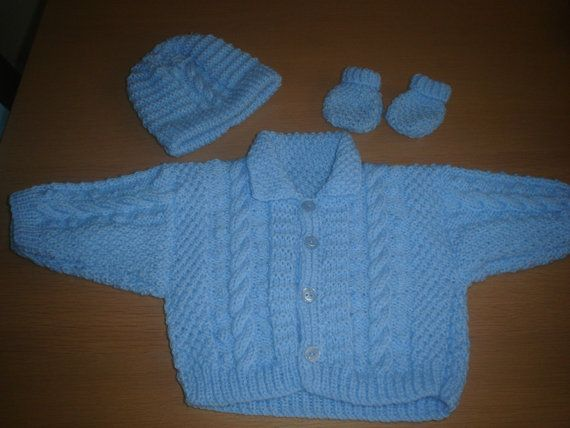 Baby boys blue ARAN type CABLE  jacket hat  and by xxdaisychainsxx, $44.00