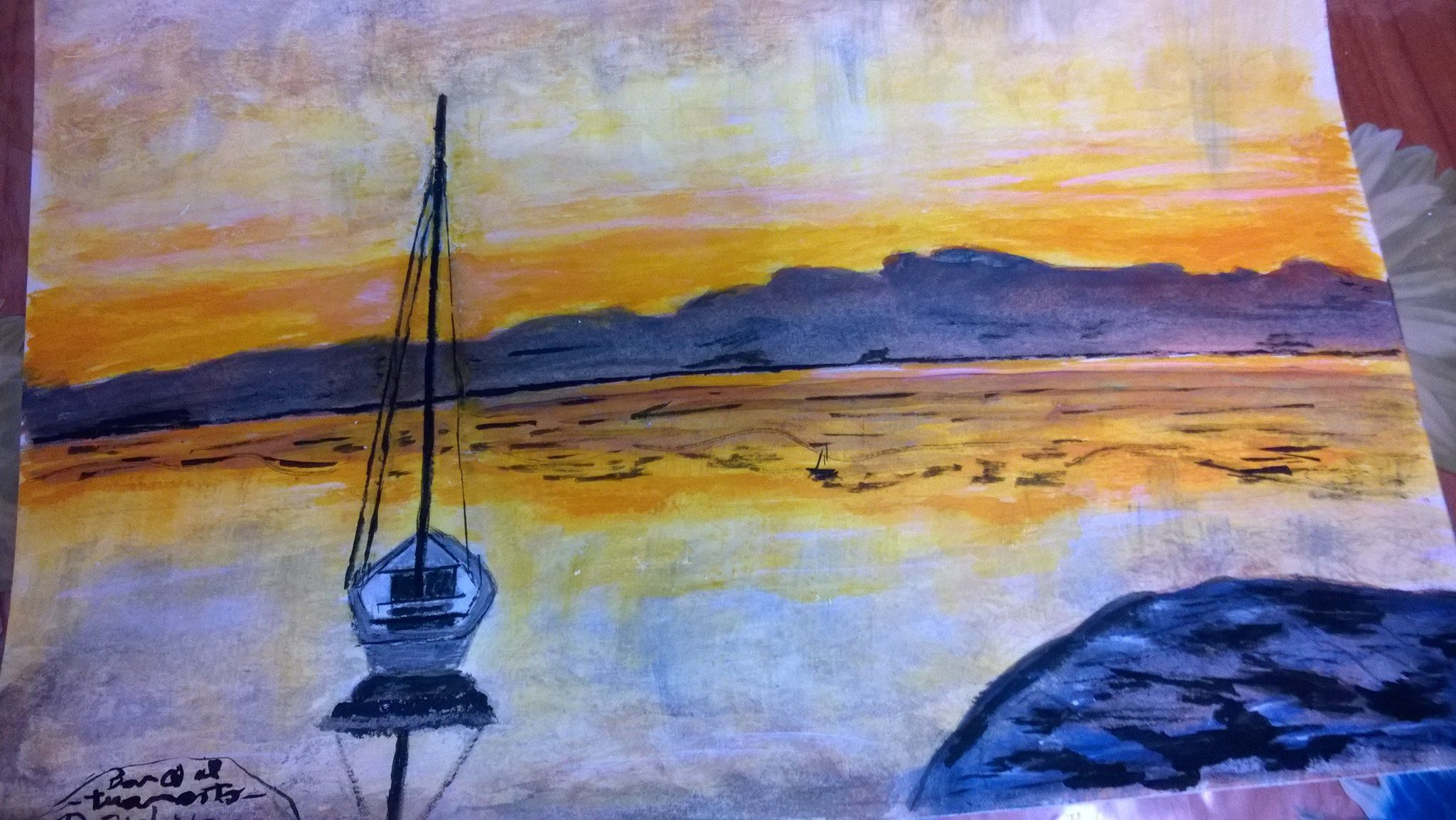dipinto con colori ad acquarello ispirata ancora dal tramonto i suoi colori che creano un atmosfera magica è DISPONIBILE PER L'ACQUISTO