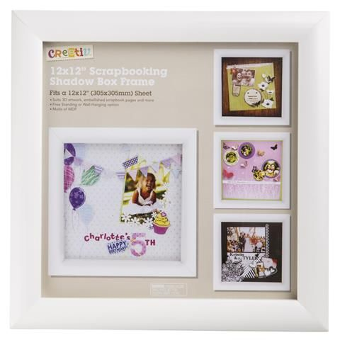 Scrapbooking Shadow Box Frame White 12x12 Inch Kmart Shadow Box Frames Frame Shadow Box