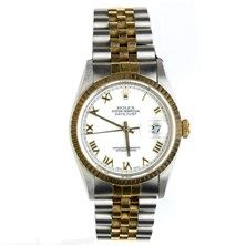 Men\u0027s Two Tone Datejust Rolex with Fluted Bezel, White Dial