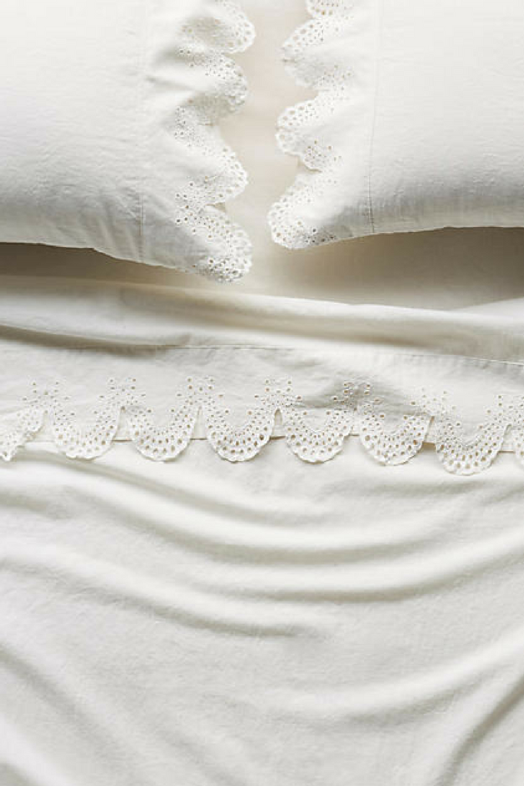 Anthropologie Embroidered Linen 'Caroline' Sheets. Love fresh linen sheets! Sponsored