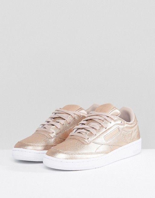 4da6de09be01 Reebok Classic Club C 85 Metallic Sneakers In Peach