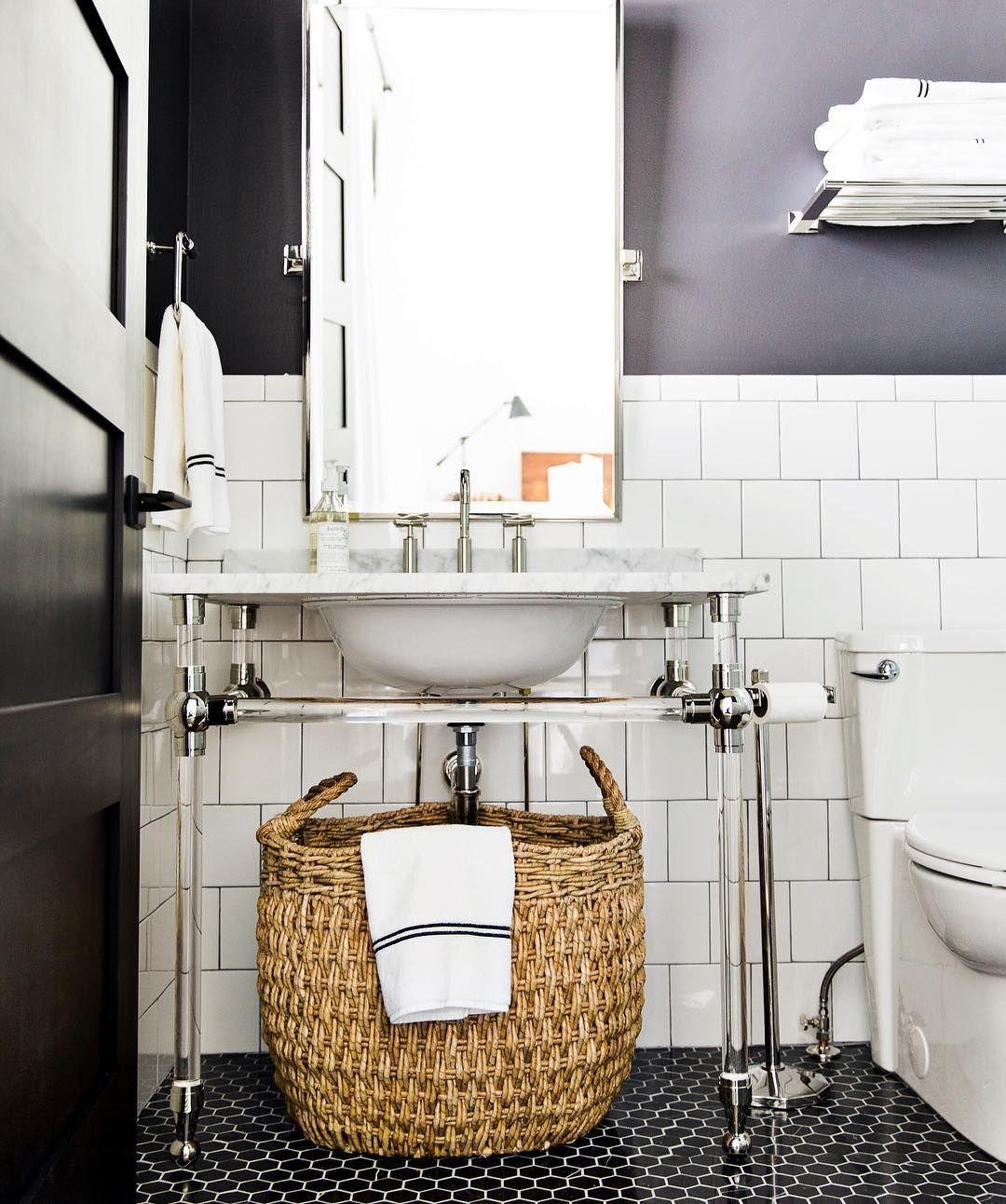 Classic White Subway Tile Bathroom: Black And White Bathroom Inspiration • Studio McGee • Www