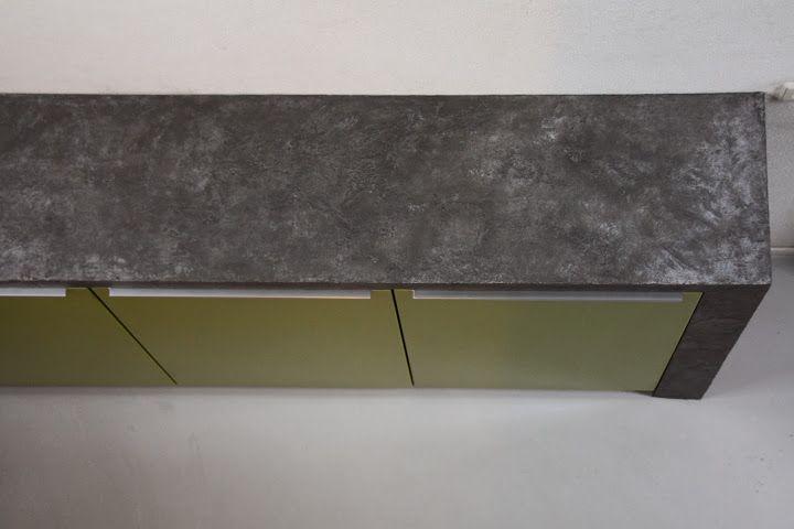kleurstuc in plaats van gegoten beton