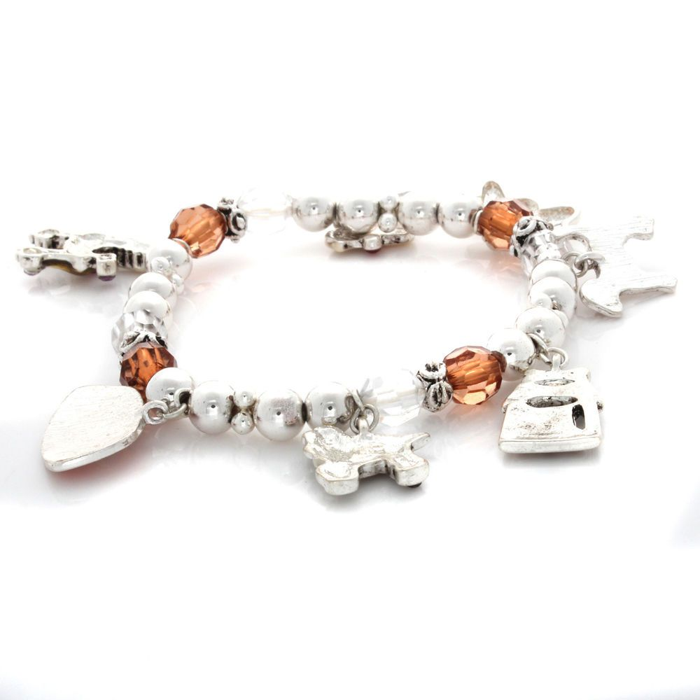 Dog bone with crystal accents Charm Stretch Bracelets A896 #Affinityjewelry #Stretch
