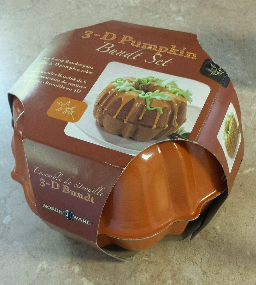 Nordic ware 3d pumpkin bundt cake pan set two 6cup bundt