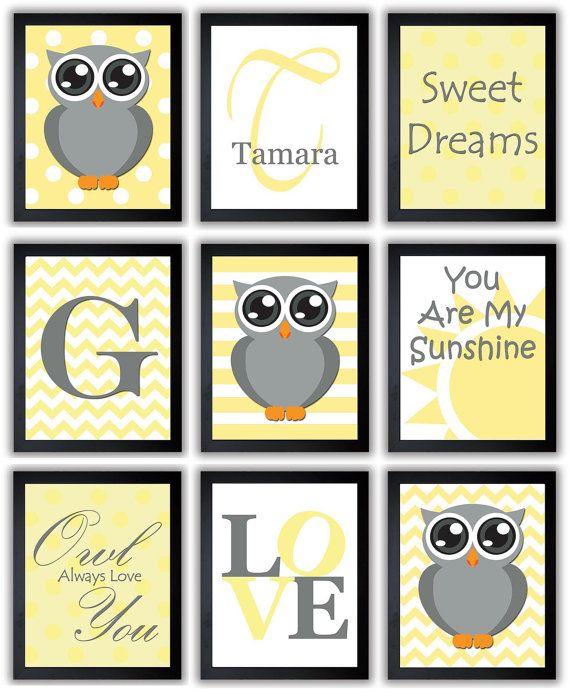 Owl Yellow Grey Gray Nursery Art Mix Match Nursery Print Polka Dots ...
