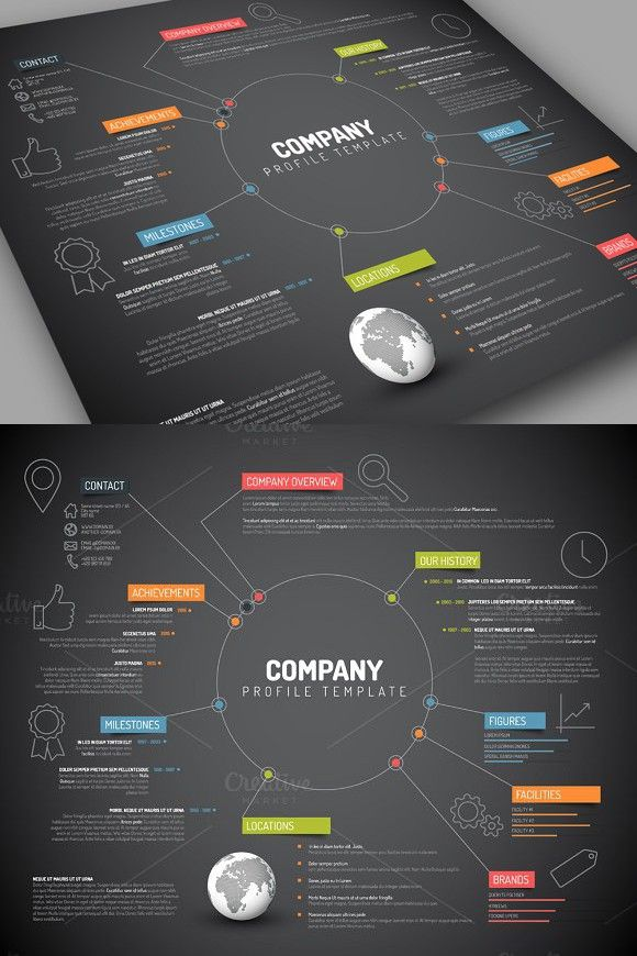 Dark Company Profile $800 Business Infographic Pinterest - format of company profile