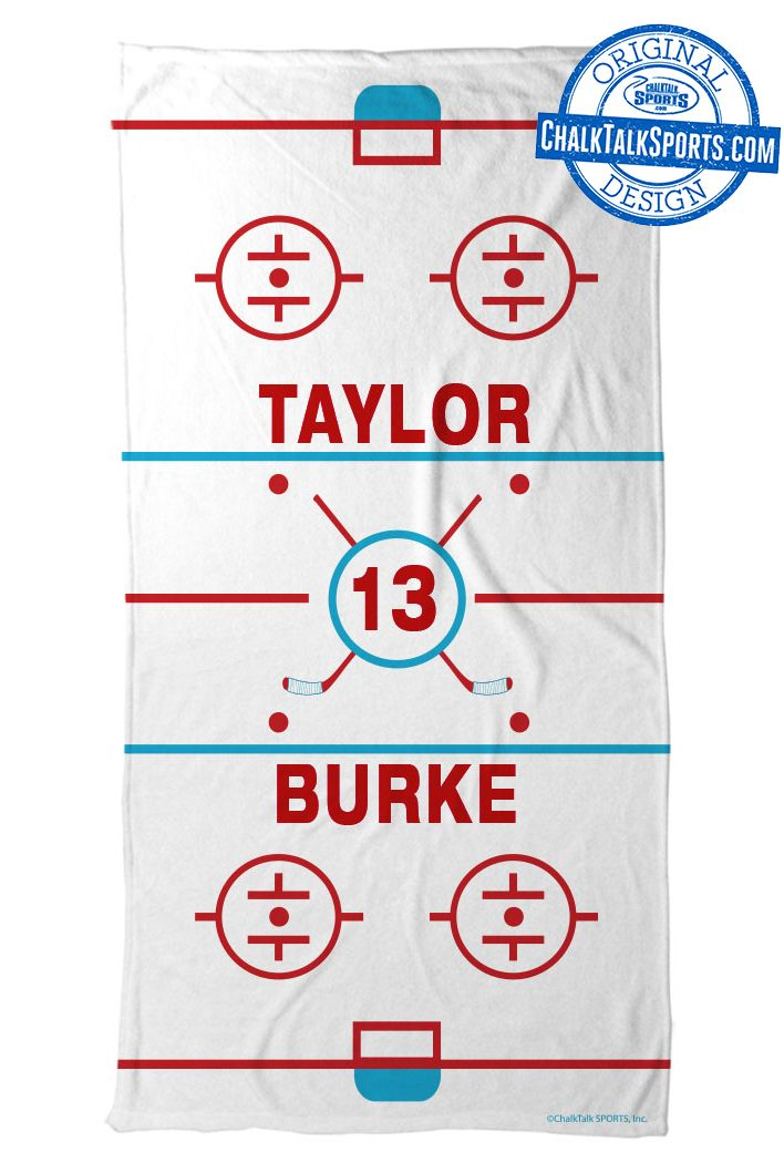 Personalize This Ice Hockey Rink Towel With Your Name And Jersey