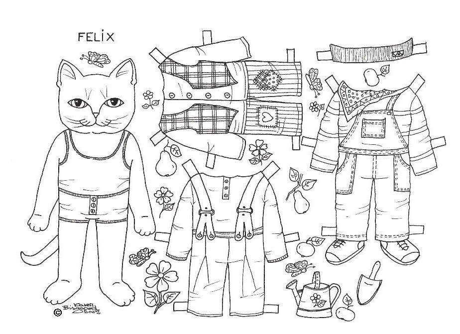 Katte til at farvelægge. Påklædningsdukker. Cats Paper