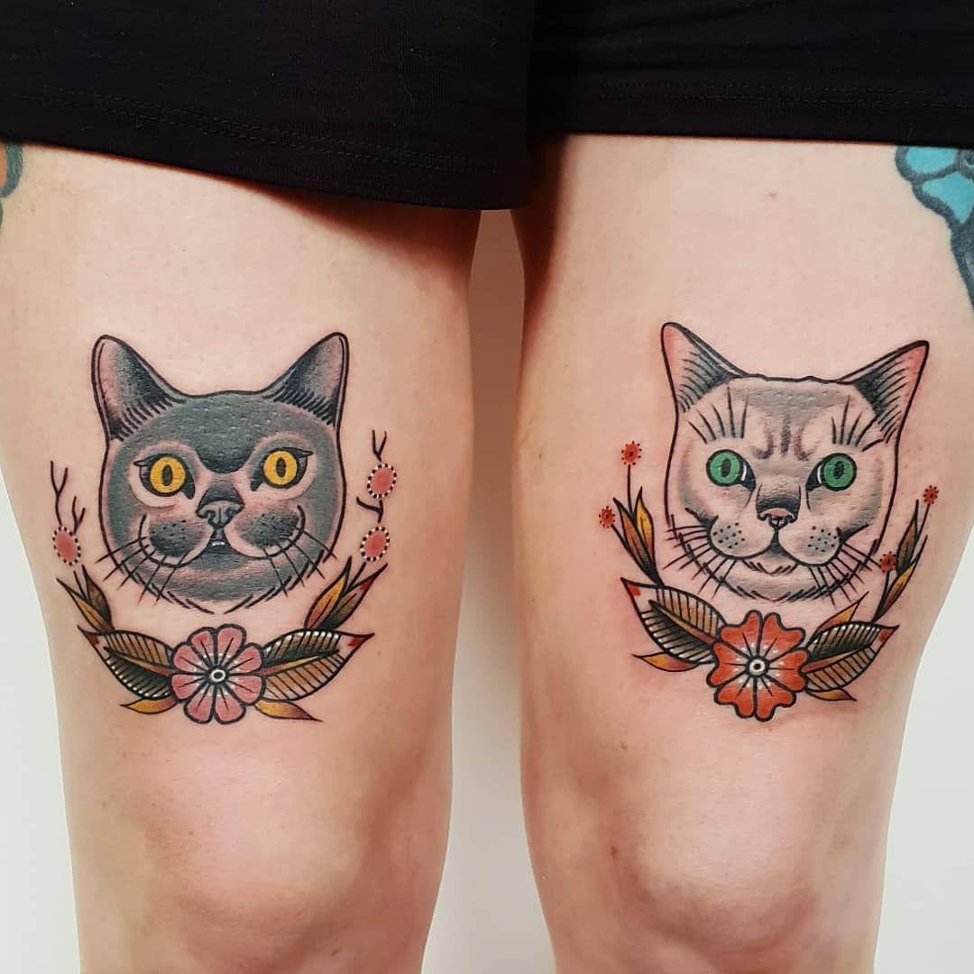 Follow Tattoowonderland On Pinterest For More Cat Pet Portrait Tattoo Traditional Tattoo Portrait Cat Portrait Tattoos Traditional Tattoo Cat