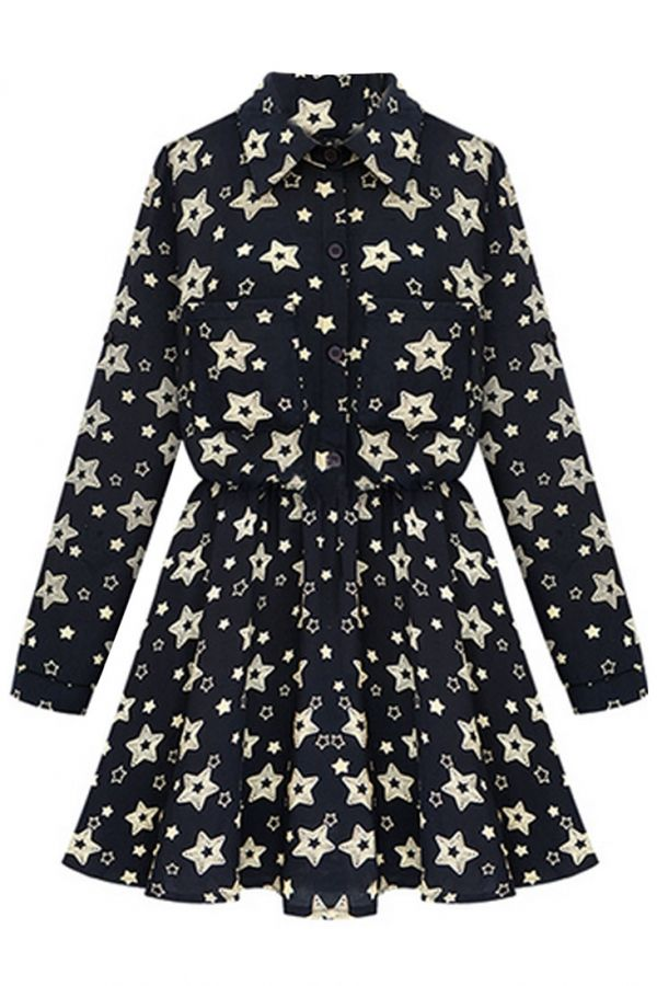 Star Print Black Babydoll Dress - OASAP.com ★ pair it with an oversized cardigan and pointed booties. ★ Coupon Code for 18% off : Halloween