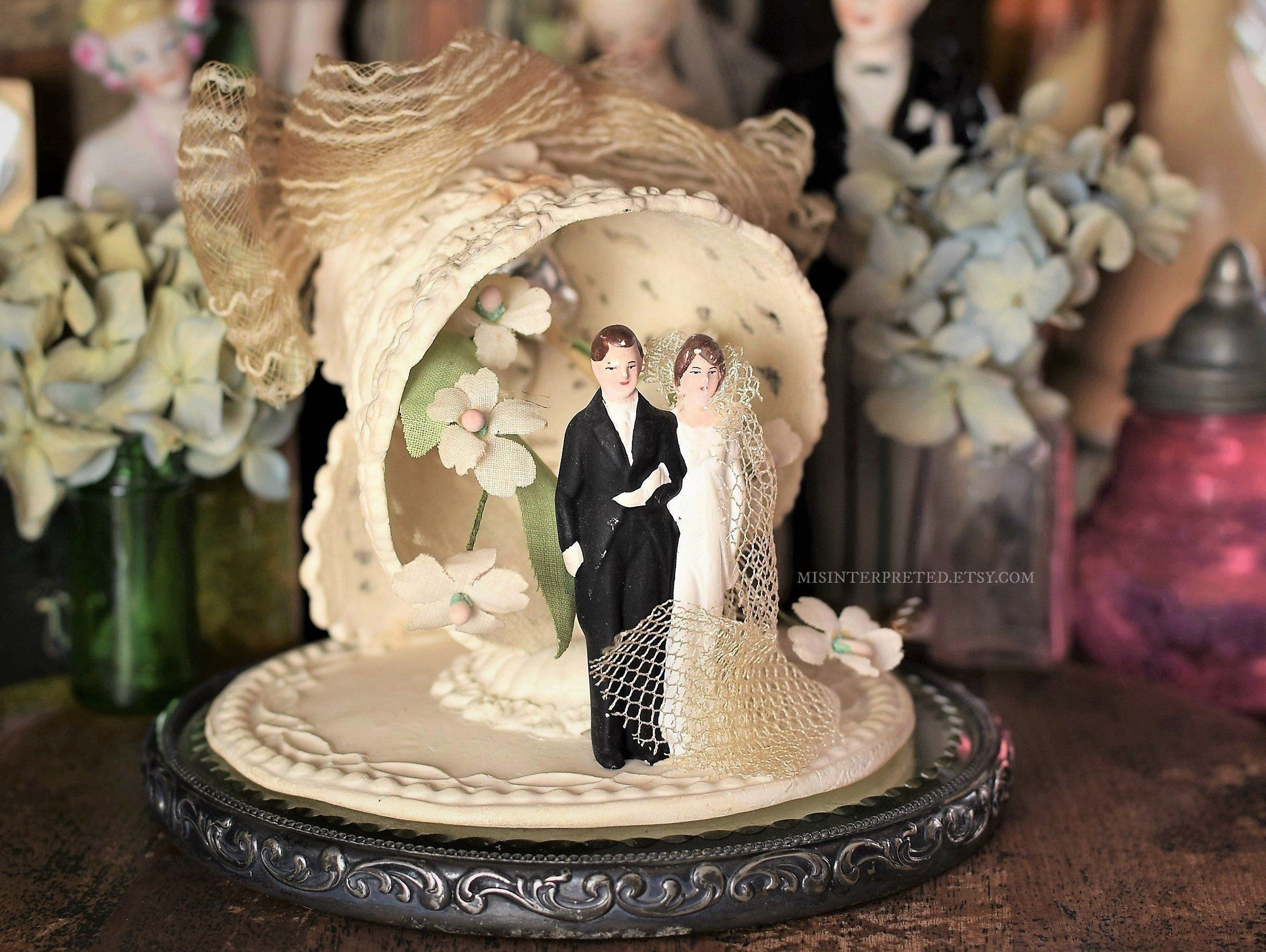 Antique Wedding Cake Topper Vintage Bride And Groom Unique