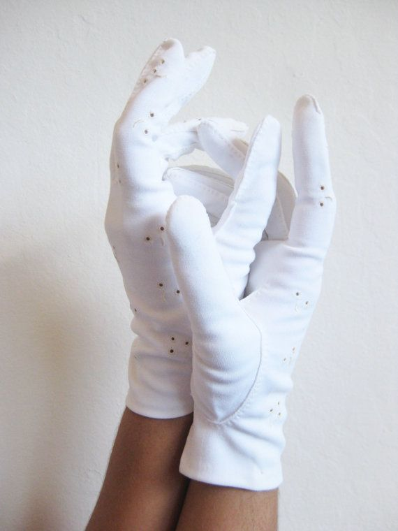 Eyelet Lace Gloves 1950s White Cotton Cut Out by OliverandAlexa, $22.00