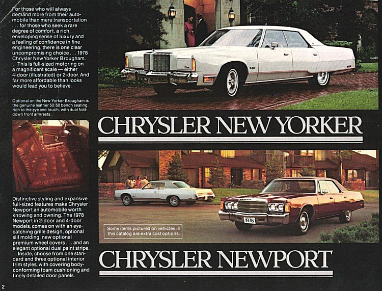 1978 Chrysler Sales Literature New Yorker And Newport Chrysler New Yorker Chrysler Cars Chrysler