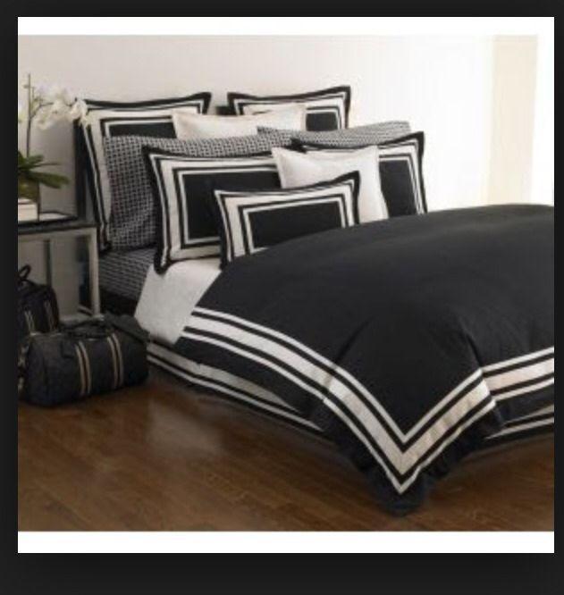 Michael Kors Five Star Bedding Set Queen Duvet Bed Skirt 2 Euro Shams Black