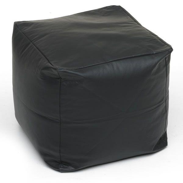 Bean Cube Faux Leather Black 40cmx40cm
