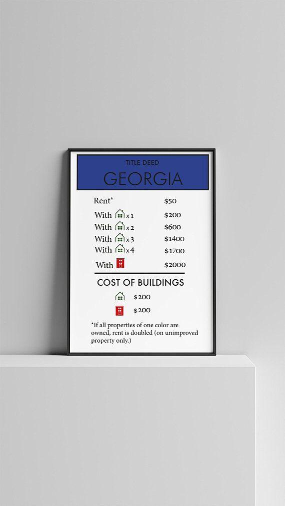 Monopoly Board Game| Monopoly Poster| Georgia Wall Print| Georgia ...