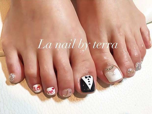 Bride And Groom Toe Nail Design