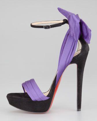 be5108e224a Christian Louboutin Vampanodo Satin Bow Sandal - Neiman Marcus ...