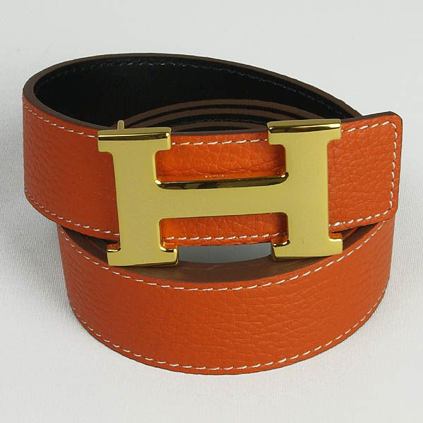 hermes sanding belts Hermes Shiny Golden H Buckle Belts Orange hermes belts men